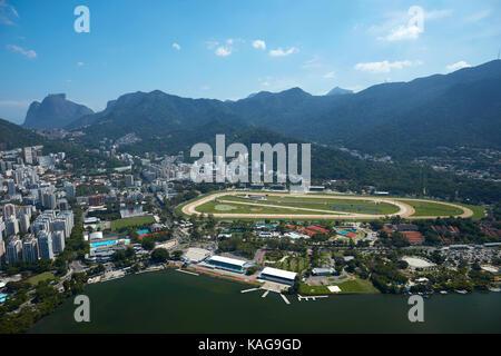 Jockey Club Brasileiro and Rodrigo de Freitas Lagoon, Rio de Janeiro, Brazil, South America - aerial - Stock Photo