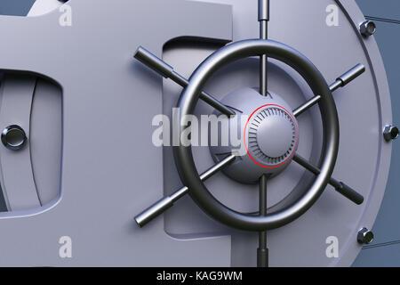 a big metallic bank vault - Stock Photo