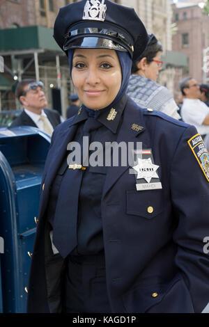 policewoman in american police uniform costume stock