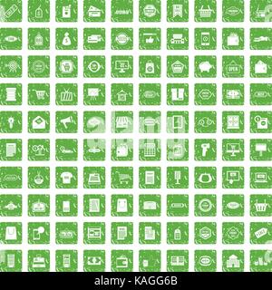 100 sale icons set grunge green - Stock Photo