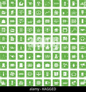 100 sales icons set grunge green - Stock Photo