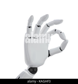 a 3d robotic hand giving the 'okay' sign - Stock Photo