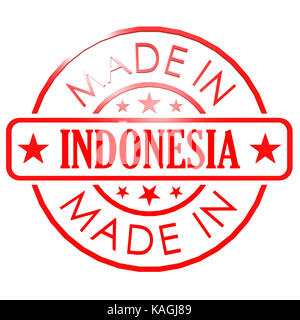 Made in Indonesia red seal - Stock Photo
