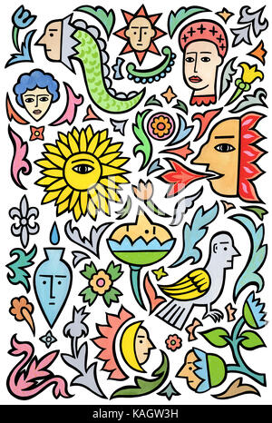 Many things. A page of various designs based on tattoos. - Stock Photo
