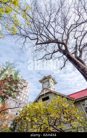 Sapporo Clock Tower is a wooden structure and well-known local tourist attraction. The Clock Tower is a symbol of - Stock Photo