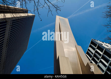 Frankfurt am Main, Germany - March 16, 2017: Lower view of modernist building sculpture next to Frankfurter Büro - Stock Photo