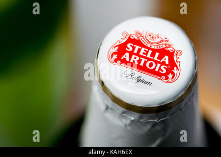 Beer bottle and cap - Stella Artois - Stock Photo