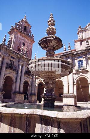 Cloister of San Martin Pinario monastery. Santiago de Compostela, La Coruña province, Galicia, Spain. - Stock Photo