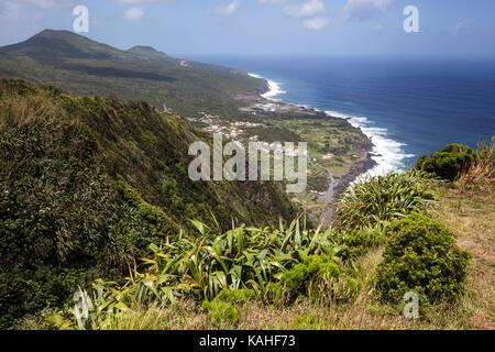 View from Miradouro Ribeira das Cabras to the north coast and Porto da Faja, island of Faial, Azores, Portugal - Stock Photo