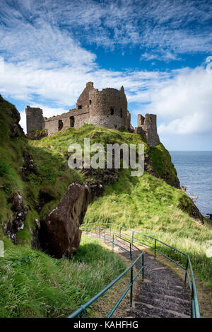 Dunluce Castle on the Atlantic Coast, Portrush, County Antrim, Northern Ireland - Stock Photo