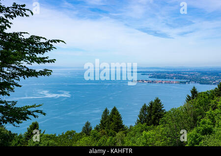 View over the town of Lindau and Lake Constance from Pfänder Mountain, Bregenz, Vorarlberg, Austria. - Stock Photo