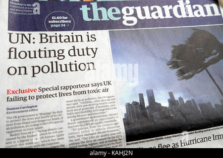 'UN: Britain is flouting duty on pollution'  Guardian newspaper headline London UK  11.9.2017 - Stock Photo