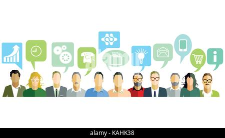 People with speech bubbles - Stock Photo