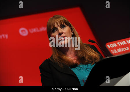 Brighton, UK. 26th Sep, 2017. Angela Raynor, Shadow Secretary of State for Education, speaking at the morning session - Stock Photo