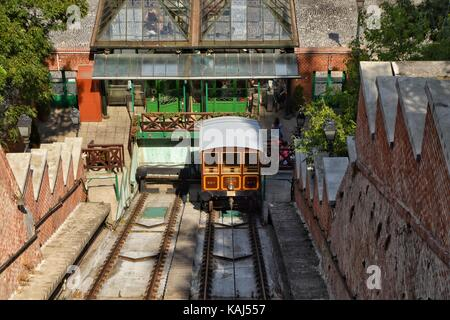 Budapest Castle funicular, view from top of the castle - Stock Photo