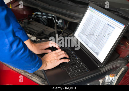 Mechanic Fixing Car With The Help Of Laptop In Garage - Stock Photo