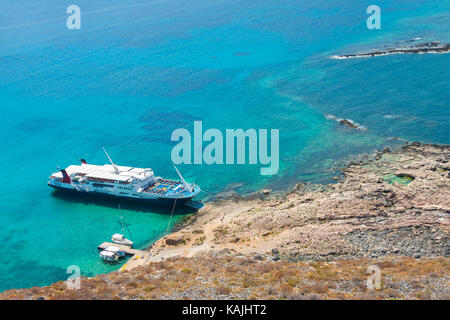 Cruise ship near Gramvousa Island. Crete, Greece - Stock Photo