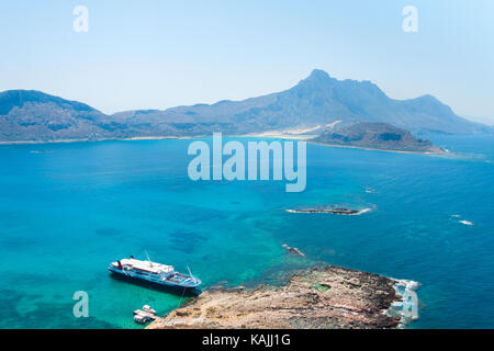 Panoramic view of the sea and the mountains from Gramvousa Island. Crete, Greece - Stock Photo
