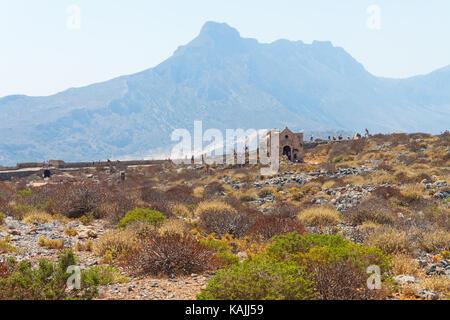 Ruins of the Venetian Fortress on Gramvousa Island. Crete, Greece - Stock Photo