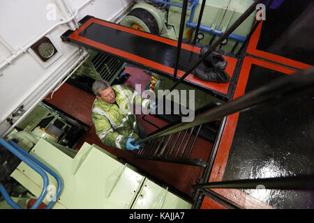 The engine room on MSC Victory on the Manchester Ship Canal in NE England on April 2, 2013. - Stock Photo
