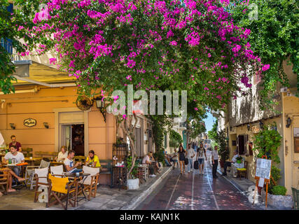 Cafe and taverna on Lisiou Street in the Plaka district, Athens, Greece - Stock Photo