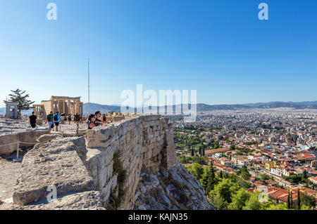 View over the city from the walls of the Acropolis, Athens, Greece - Stock Photo