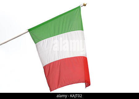 Flag of Italy waving on a white background - Stock Photo