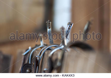 Western riding in Germany, close-up of stirrups - Stock Photo