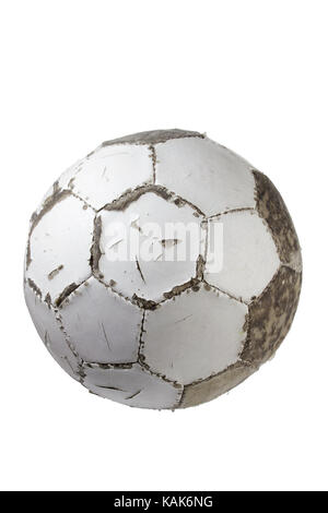 Worn-Out Football on White Background - Stock Photo