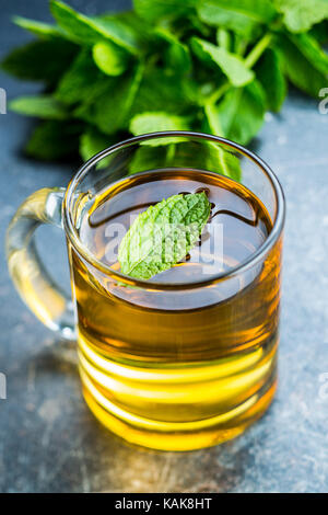 Tasty mint tea. Mint leaves and tea cup. - Stock Photo