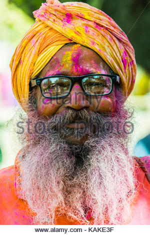 Lathmar Holi (Holi, Festival of Colors), Barsana, near Mathura, Uttar Pradesh, India. - Stock Photo