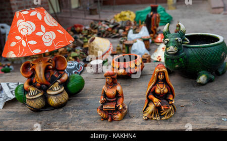 Beautiful hand made decorative items at a shop for sale. The crafts of India are diverse, rich in history and religion. - Stock Photo
