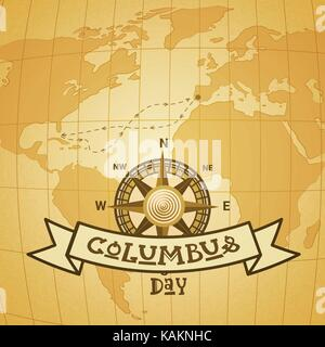 Columbus Day World Map With Compass Stock Photo Royalty Free - Usa map with compass