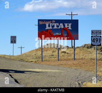 Welcome to Utah sign on highway 491. - Stock Photo