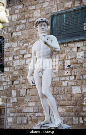 Sculptures in Piazza della Signoria with a copy of the famous David