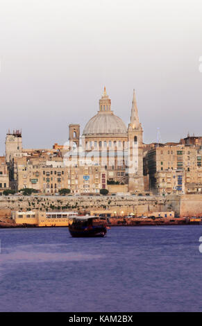 The Carmelite church in the old city of Valletta in Malta. - Stock Photo