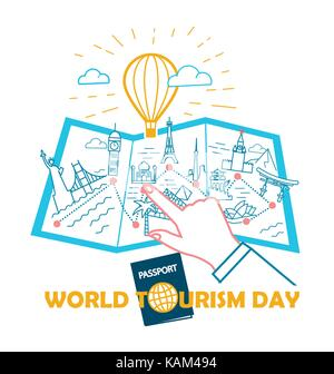 Greeting card - World Tourism Day. concept of travel and choice of places for tourism.  illustration in the linear - Stock Photo