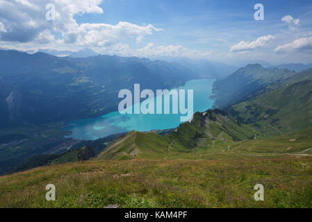 View of lake Brienz from Brienzer Rothorn - Stock Photo