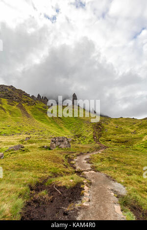 A hiking trail up to the Old Man of Storr on Isle of Skye in Scotland. - Stock Photo
