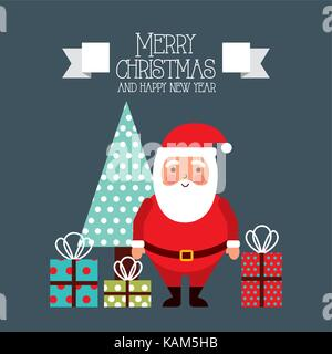 merry christmas and happy new year card santa and tree gifts - Stock Photo