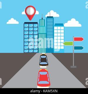 navigation buildings car street pointer location - Stock Photo