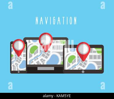 digital devices with navigation gps map on screen - Stock Photo