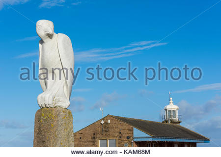 Mythical Bird sculpture by Gordon Young on the Stone Jetty at Morecambe, part of the Tern Project - Stock Photo