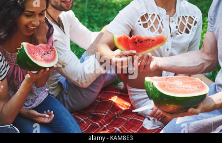 Cheerful friends enjoying watermelon on picnic on sunny summer day - Stock Photo