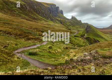 Quiraing, Isle of Skye, Scotland, United Kingdom - Stock Photo