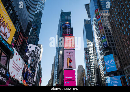Electronic Advertising Billboards in Times Square, NYC, USA - Stock Photo