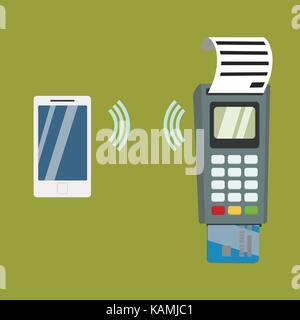 Nfc payment flat design style vector illustration, pos terminal confirms the payment using a smartphone, vector - Stock Photo