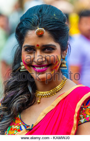 Beautiful Indian woman, Holi (Festival of Colors), Mathura, Uttar Pradesh, India. - Stock Photo