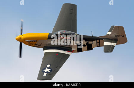 P51 Mustang Performing at the Rhyl Air Show in Rhyl, Wales, UK - Stock Photo