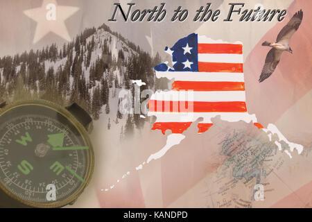 A collage of Alaskan symbols. - Stock Photo